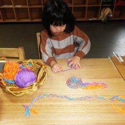 Knitting, using yarn in activities